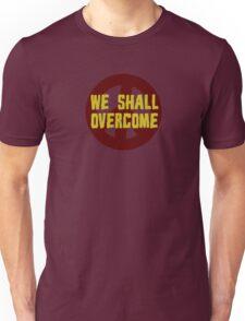 we shall overcome hippie hippies jimi hendrix bob dylan jim morrison joan baez janis joplin song lyrics peace sign love t-shirts Unisex T-Shirt