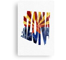 Arizona Typographic Map Flag Metal Print