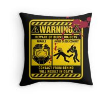 Mjolnir Warning Label Throw Pillow