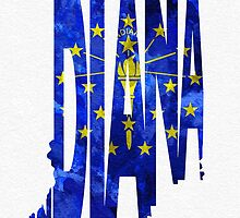 Indiana Typographic Map Flag by A. TW