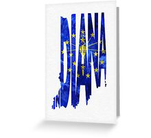 Indiana Typographic Map Flag Greeting Card