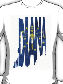 Indiana Typographic Map Flag T-Shirt