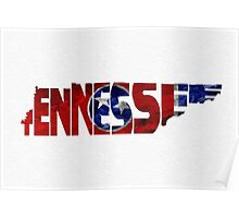 Tennessee Typographic Map Flag Poster