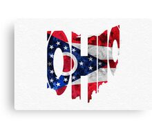 Ohio Typographic Map Flag Canvas Print