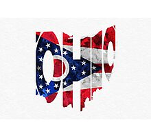 Ohio Typographic Map Flag Photographic Print