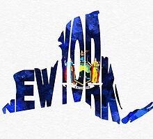 New York Typographic Map Flag by A. TW