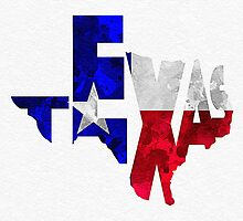 Texas Typographic Map Flag by A. TW