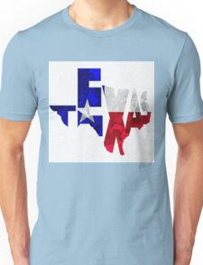 Texas Typographic Map Flag Unisex T-Shirt