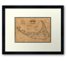 Vintage Map of Nantucket (1869) Framed Print