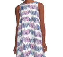 Pink and Blue Scribbles A-Line Dress
