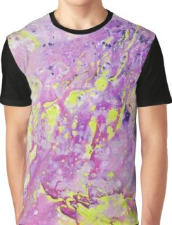 Yellow Lilac Abstract Painting Graphic T-Shirt