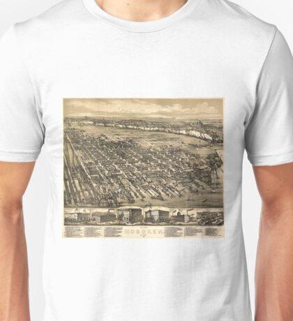 Vintage Pictorial Map of Hoboken NJ (1881) Unisex T-Shirt