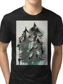 Black and green watercolor Tri-blend T-Shirt