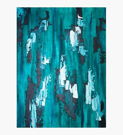 Teal Blue Abstract Art Photographic Print