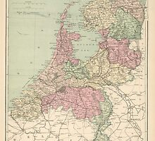 Vintage Map of Holland (1873)  by BravuraMedia