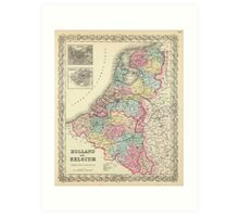 Vintage Map of Holland and Belgium (1856)  Art Print