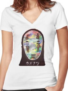 Spirited Away No Face! Kaonashi Women's Fitted V-Neck T-Shirt