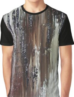 Brown Black Abstract Painting Graphic T-Shirt