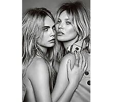 Cara Delevingne + Kate Moss Black and white Photographic Print