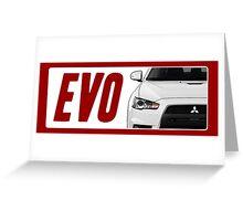 Mitsubishi Evolution (EVO) Logo [White Transparent] Greeting Card
