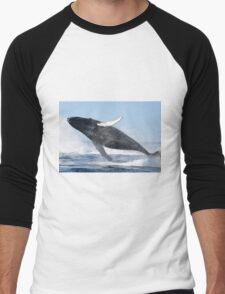 Humpback Whale Jumping High Men's Baseball ¾ T-Shirt