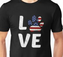 Patriotic American Flag Dog Love Paw Print Unisex T-Shirt