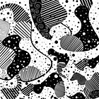 Modern black and white geometric shapes & patterns design by artonwear
