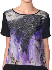 Lilac Black Abstract Painting Chiffon Top