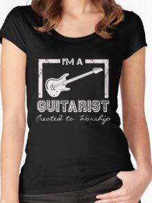 I'm a Guitarist Created to Worship Christian Musician T Shirt Women's Fitted Scoop T-Shirt