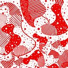 Red & White Modern Abstract Shapes Design by artonwear