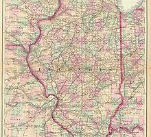 Vintage Map of Illinois (1874) by BravuraMedia
