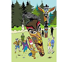 Thieving Raven on a Totem Pole Photographic Print