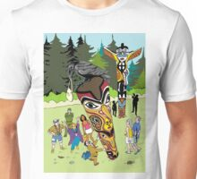 Thieving Raven on a Totem Pole Unisex T-Shirt