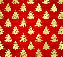 Gold Foil Christmas Trees On Red by Vickie Emms