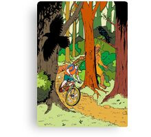Mountain biking through the forest Canvas Print