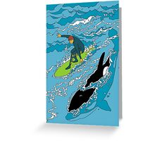 Surfing with the Orcas Greeting Card