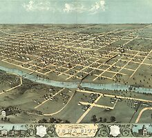 Vintage Pictorial Map of Iowa City (1868) by BravuraMedia