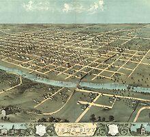 Vintage Pictorial Map of Iowa City (1868) by BravuraMedia