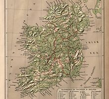 Vintage Physical Map of Ireland (1880) by BravuraMedia