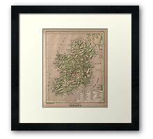 Vintage Physical Map of Ireland (1880) Framed Print
