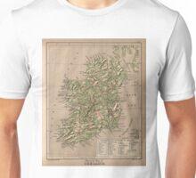 Vintage Physical Map of Ireland (1880) Unisex T-Shirt