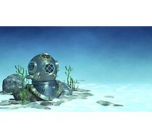 Underwater - Diving Helmet on the Sea Floor Photographic Print