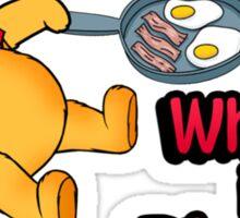 Where is Piglet? Winnie frying bacon. Sticker