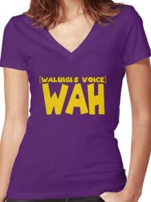 Wah Waluigi Voice Women's Fitted V-Neck T-Shirt