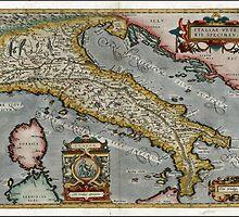 Vintage Map of Italy (1584)  by BravuraMedia