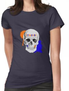 SYRACUSE UNIVERSITY SKULL STICKER AND LEGGING Womens Fitted T-Shirt