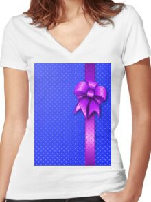 Purple Present Bow Women's Fitted V-Neck T-Shirt