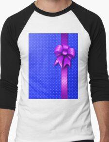 Purple Present Bow Men's Baseball ¾ T-Shirt