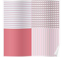 Pink Stripes, Hearts and Solids Plaid Poster