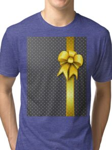 Gold Present Bow Tri-blend T-Shirt
